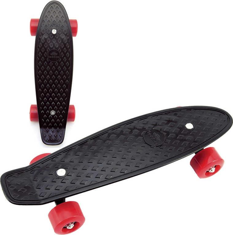 Mix hračky Skateboard dětský pennyboard černý 43cm plastové osy červená kola