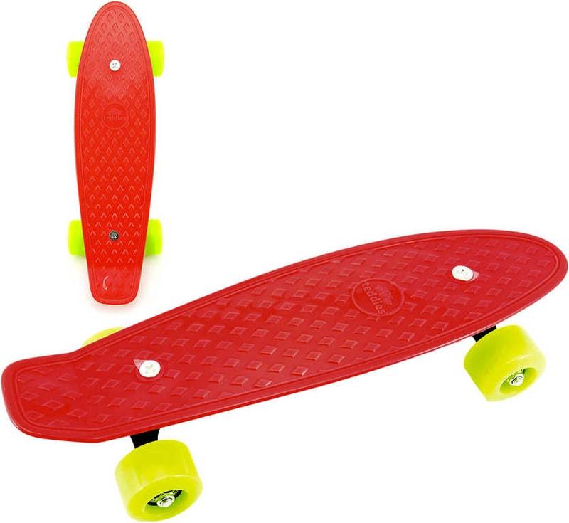 Mix hračky Skateboard dětský pennyboard červený 43cm plastové osy zelená kola