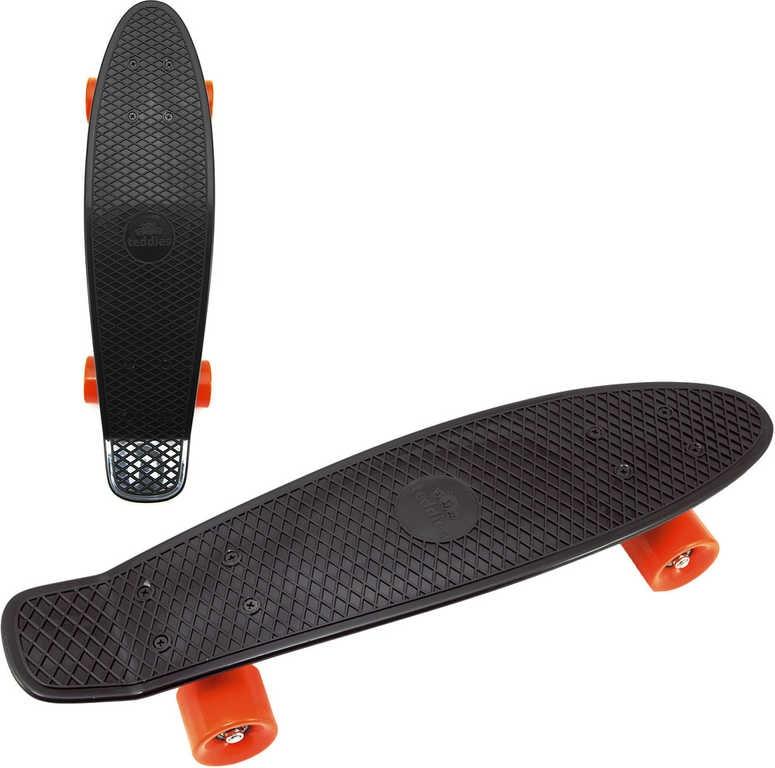 Mix hračky Skateboard dětský pennyboard černý 60cm kovové osy oranžová kola