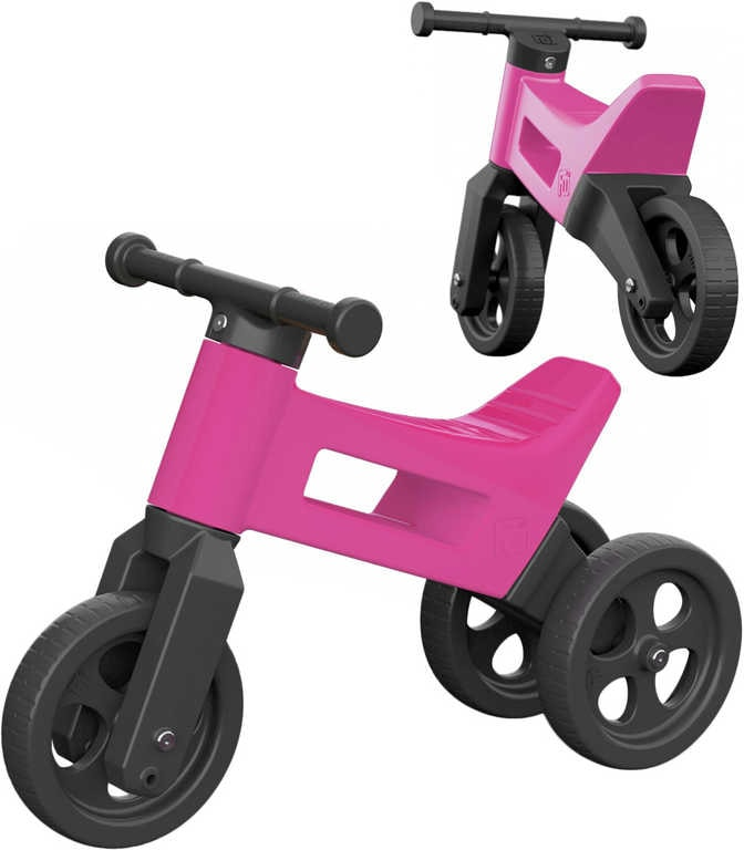Mix hračky Dětské odrážedlo Funny Wheels 2v1 odstrkovadlo tříkolka / 2 kola růžové plast