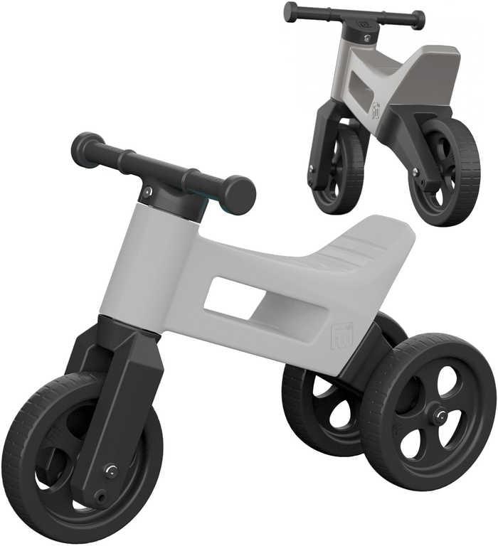Mix hračky Dětské odrážedlo Funny Wheels 2v1 odstrkovadlo tříkolka / 2 kola šedé plast