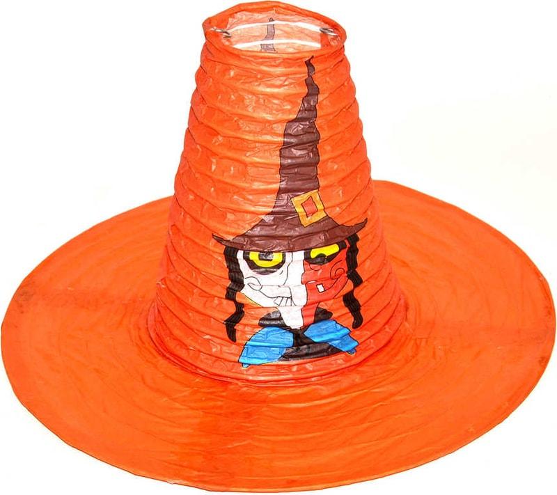 _Ostatní 1_ Lampion krčený harmonika klobouk 25x20cm čarodejnice na žárovku papírový