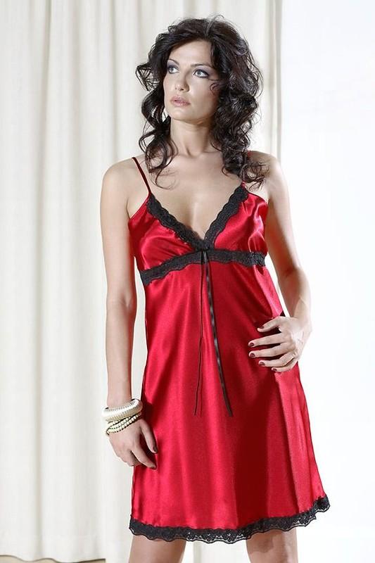 DKaren Saténové košilky Viola - červená - XL