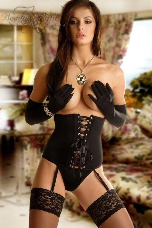 Beauty Night Fashion Erotický korzet Carmen black - černá - S/M