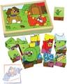 Kubus zvířátka a mašinka obrázkové kostky set 15ks