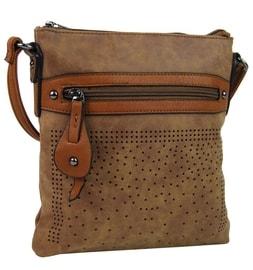 ca5b792dd24 LS Fashion moderní kávová dámská Hobo kabelka s kožešinovou ozdobou ...